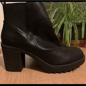 UO healed black booties